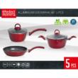 Kép 2/3 - Perfect Home Edényszett aluminium 5 részes piros 14788