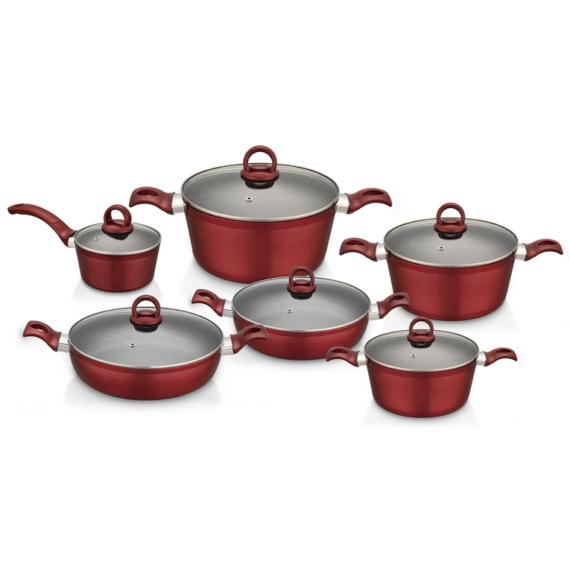 Perfect Home Edényszett aluminium 12 részes piros 14789
